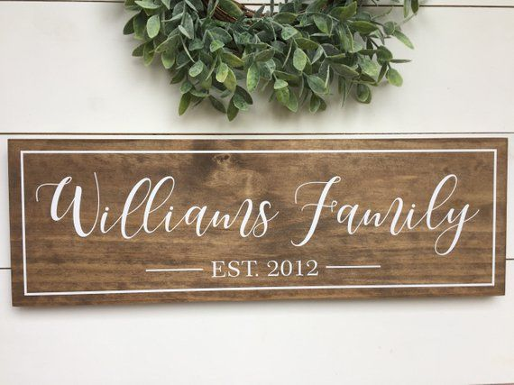 Signs for Home, Family Christmas Gift, Family Name Established Sign