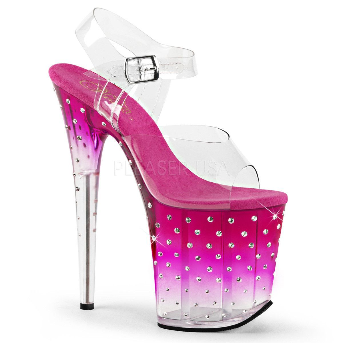 Pleaser STARDUST-808T Clear Ankle Strap Sandals With Pink-Clear Platform