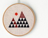 """Geometric mountains - Embroidery in wooden hoop 5"""" - Minimalist"""