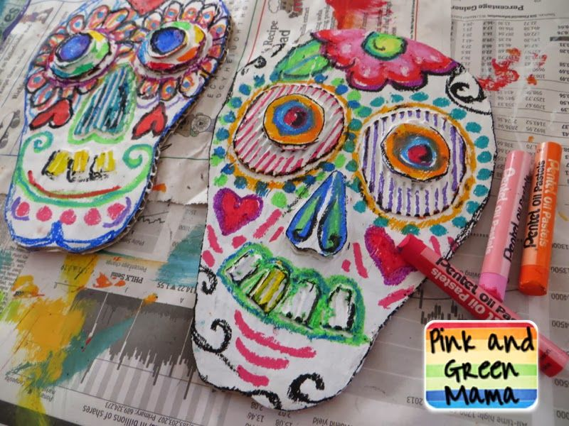 Oil Pastel Cardboard Gesso Day Of Dead Sugar Skull Craft Art Project Kid Friendly Cool Projects