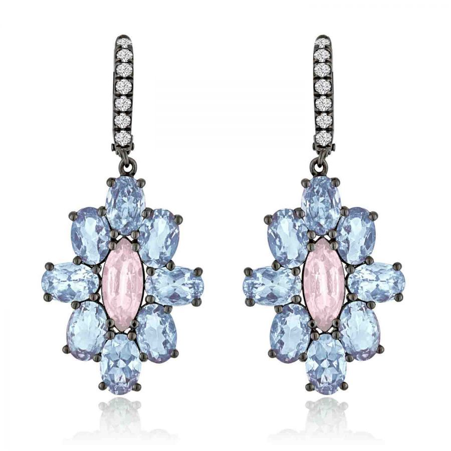 Aquamarine And Pink Spinel Earrings With Diamonds In Black Rhodium By  Campbellian Collection