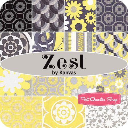 """@Darla Sherwood Redger !! YELLOWS & GRAYS?!  Really!!  ::  Zest 10"""" Squares Kanvas for Benartex Fabrics - Fat Quarter Shop"""