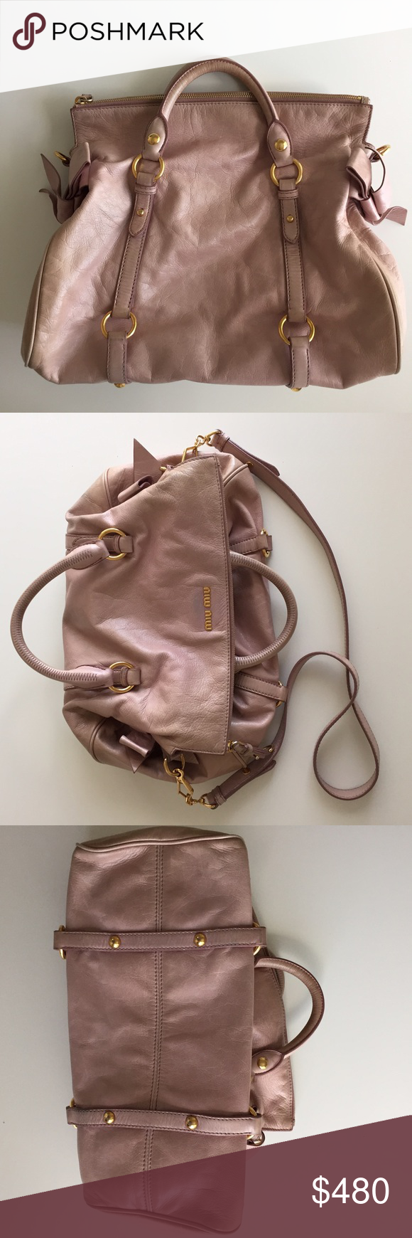 146713ac7eaa Miu miu vitello lux bow fold over satchel bag Just sold authentic mini size miu  miu