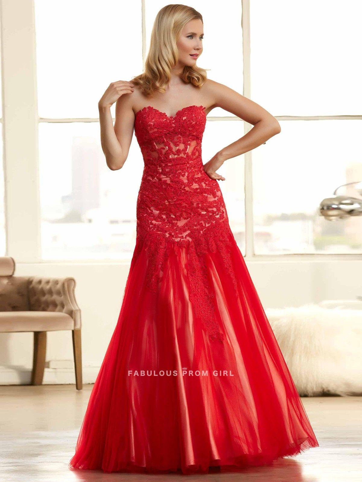 Trumpet mermaid applique tulle prom dresses evening dresses