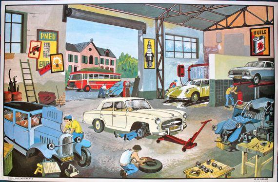 Vintage Affiche Scolaire Double Face Des Annees 1960 Par Leretromarket School Posters Antique Car Garage French Vintage
