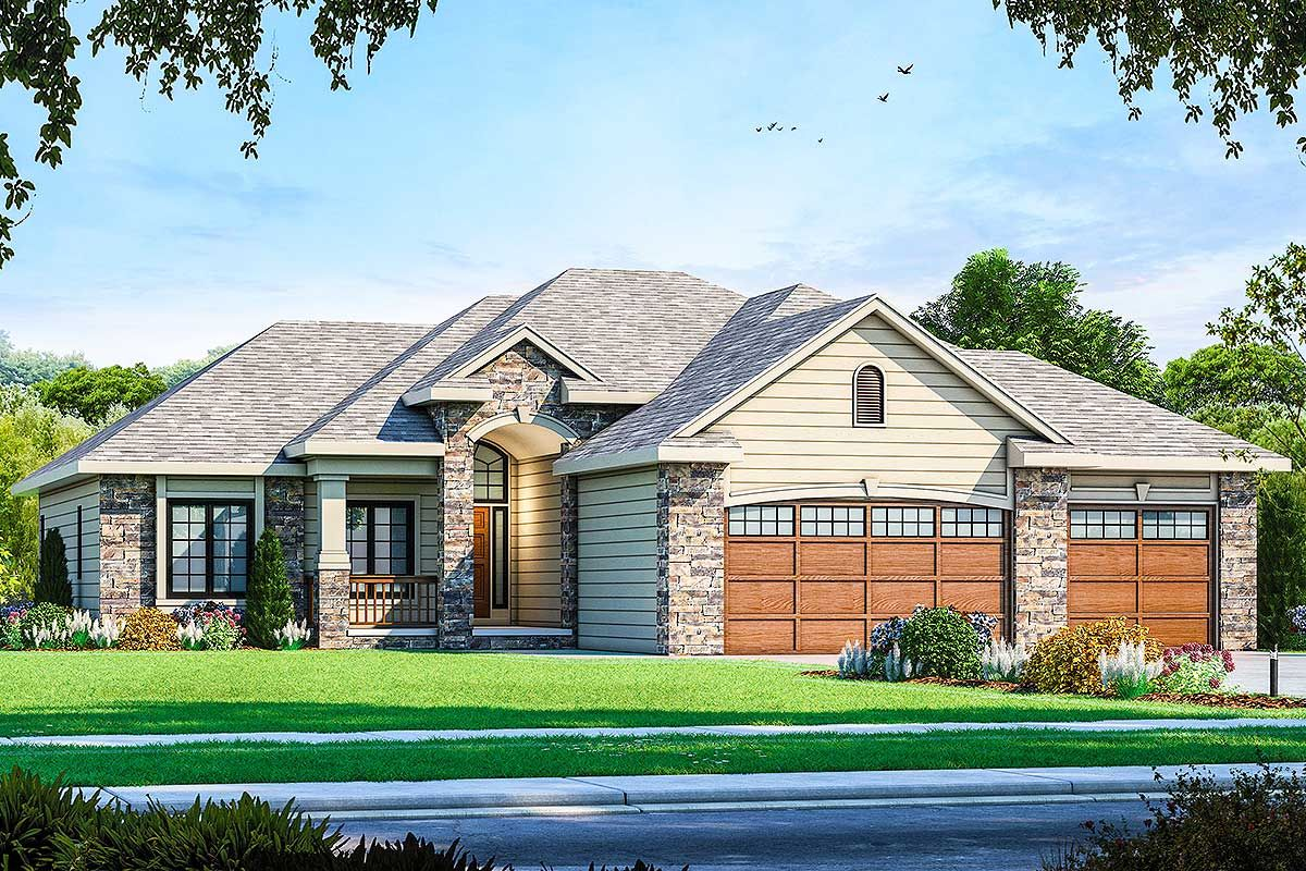This Attractive One Level Home Has A Delightful Open Floor Plan That Flows From Room To Room Sp French Country House Plans House Plans Traditional House Plans