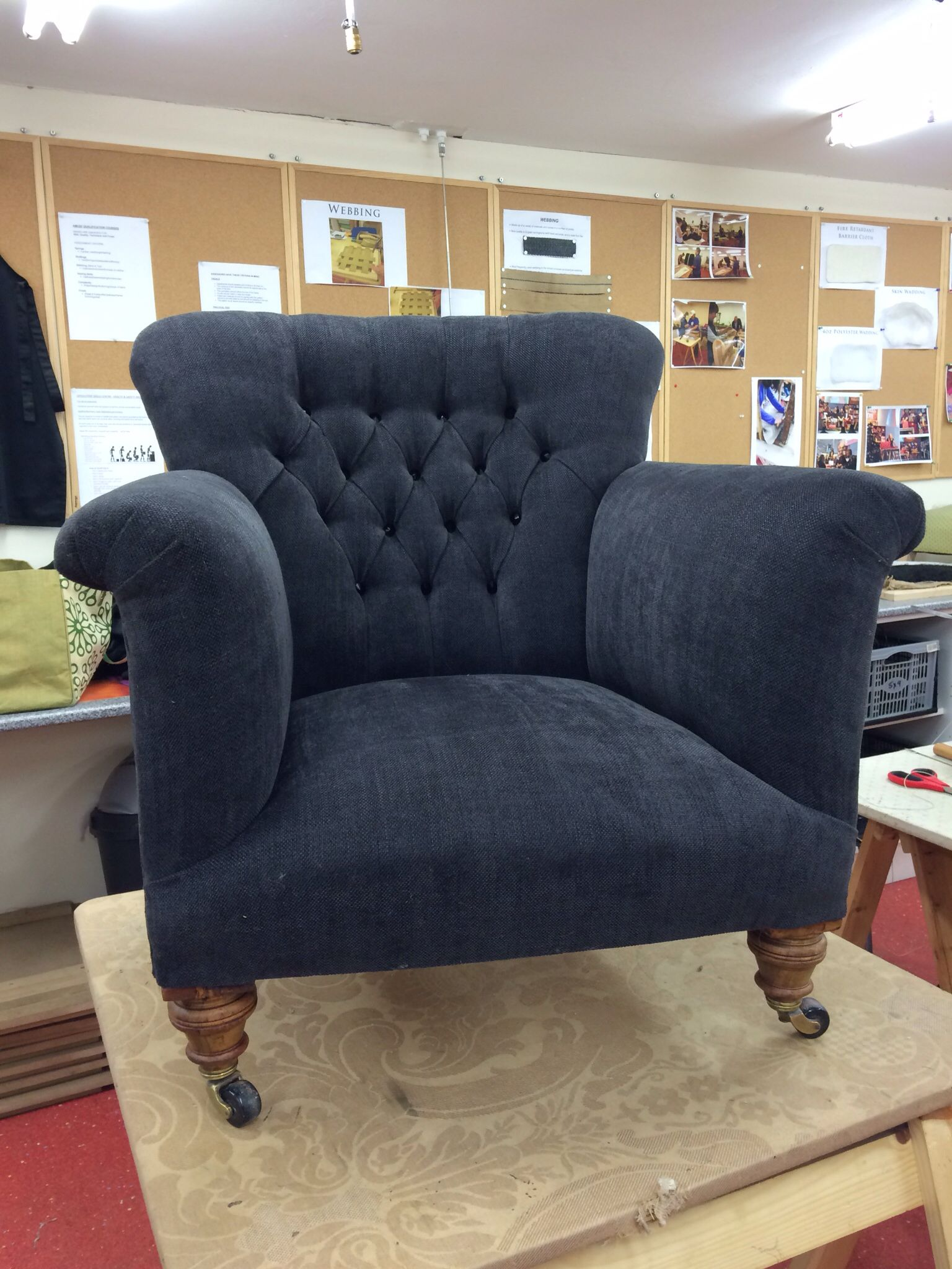Edwardian arm chair recovered in charcoal chenille fabric deep