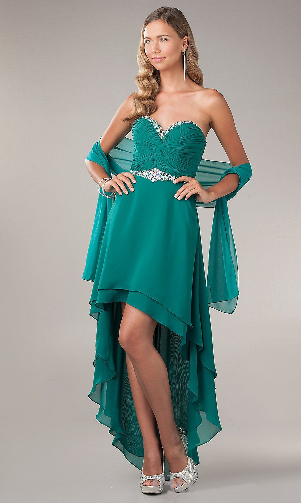 High Low Prom Dress Emerald Green Chiffon Sweetheart Neck ...