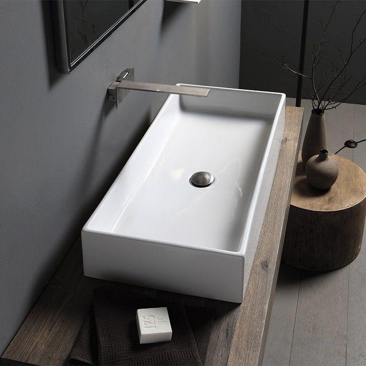 Teorema Ceramic Rectangular Vessel Bathroom Sink In 2021 Wall Mounted Bathroom Sinks Bathroom Sink Rectangular Vessel Sink