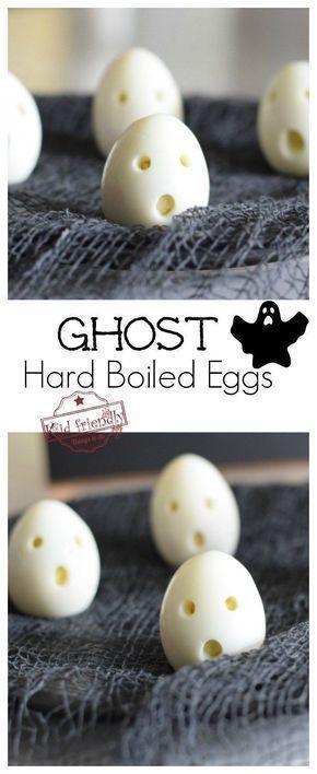 Ghost Hardboiled Eggs for a Healthy Halloween Kid's Breakfast Treat
