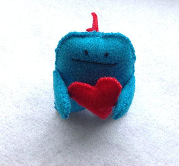 Love Monster with Red Heart! Felt handmade original by MonsterDen #monster #babygodzilla