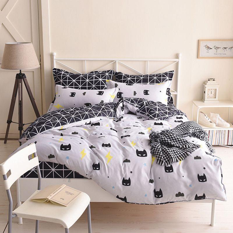Batman Bedding Set Black Color Cartoon Duvet Cover Sheet Bed Cover