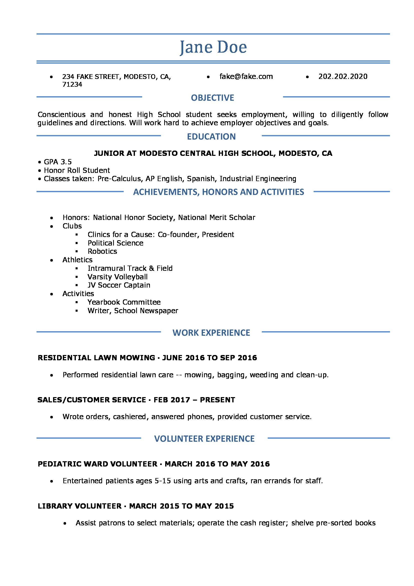 High School Student Resume for College Fantastic High