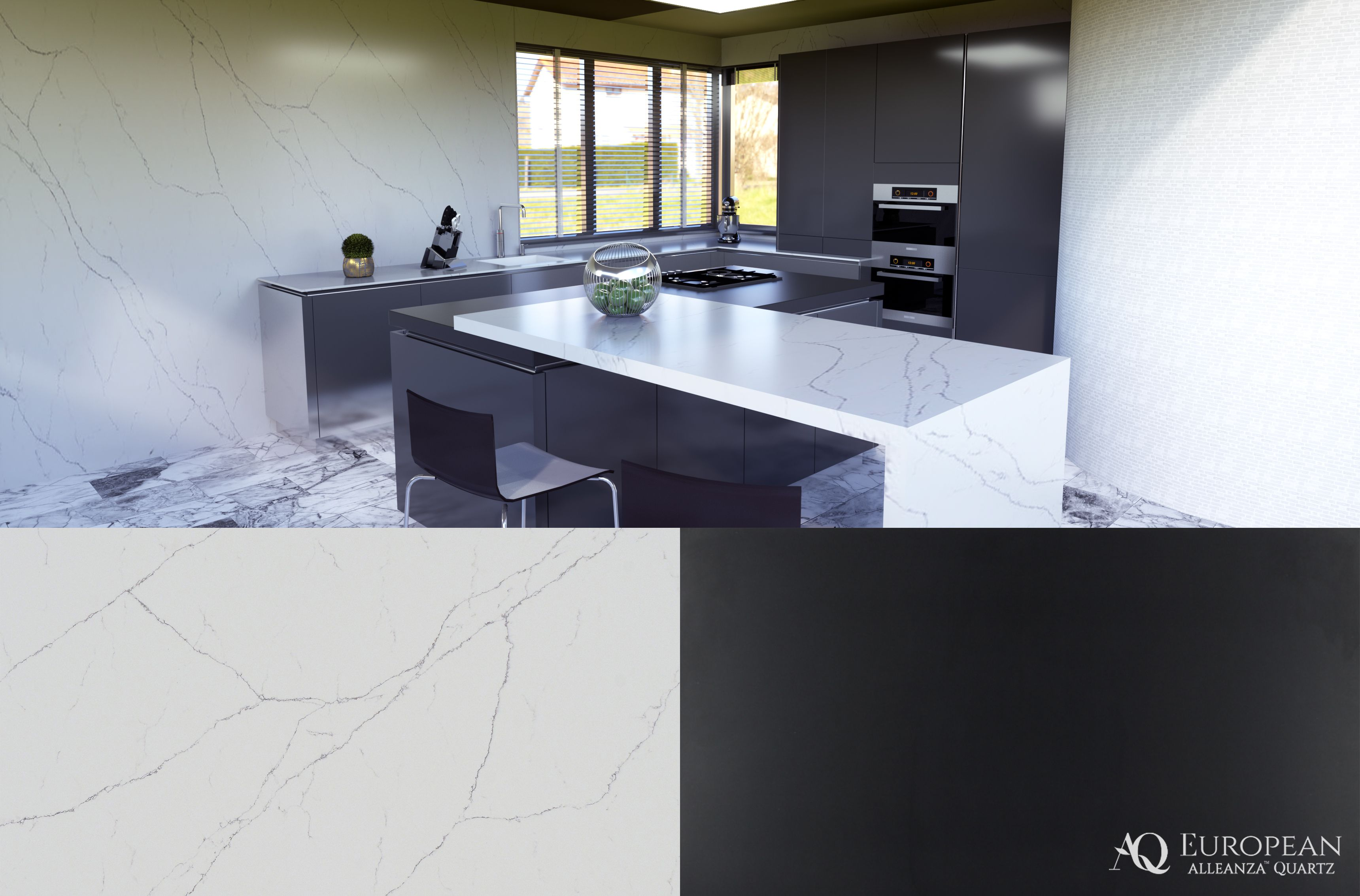 Seen Here Is A Kitchen Design Featuring Our New Alleanza Quartz