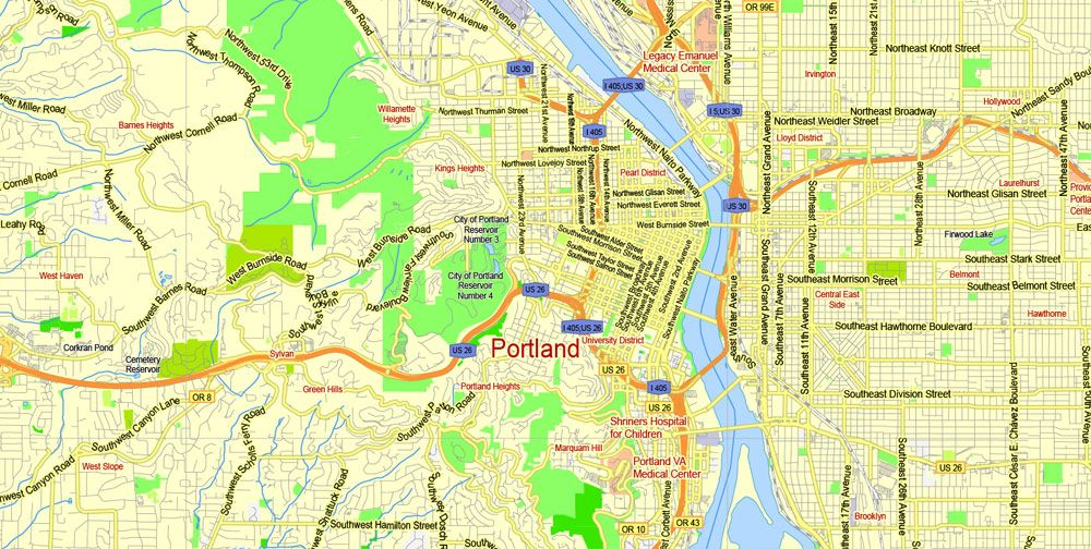 Portland Vancouver Oregon City Salem Large Area Printable Map