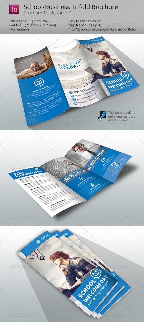 indesign brochure template businessschool informational brochures