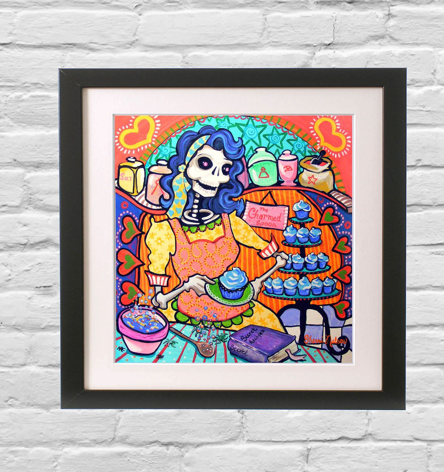 Rockabilly Kitchen Decor: Day Of The Dead Bakery Poster Mexican Folk