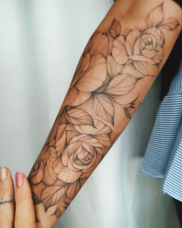 70+ Simply Beautiful Flower Tattoo-Ideen für Frauen  – Rosentattoo Unterarm – Tattoo-Ideen