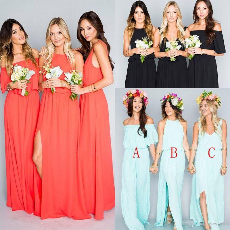 d9ab3de0fa2 Find More Bridesmaid Dresses Information about 2017 Bohemian Bridesmaid  Dress Wedding Guest Wear Mint Green Coral Chiffon Split Long Party Boho  Plus Size ...