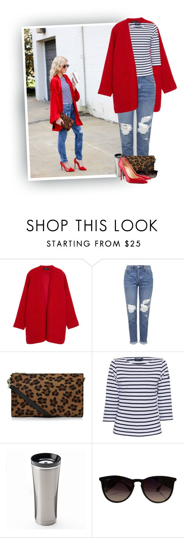 """Loving Him Was Red"" by hollowpoint-smile ❤ liked on Polyvore featuring Derek Lam, Topshop, Saint James, Thermos, Ray-Ban and Christian Louboutin"