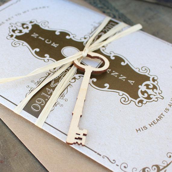 Key To My Heart Wedding Invitation Printed Pocket By Beyonddesign 4500