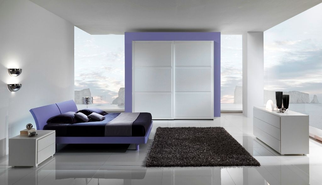 Ultra Modern Living Room With Purple Bed And Gl Windows Kbhome