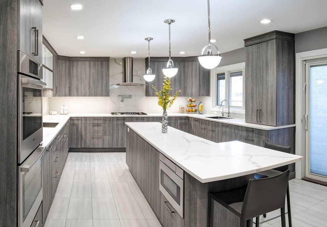 Light Grey Stained Kitchen Cabinets with White tile ...