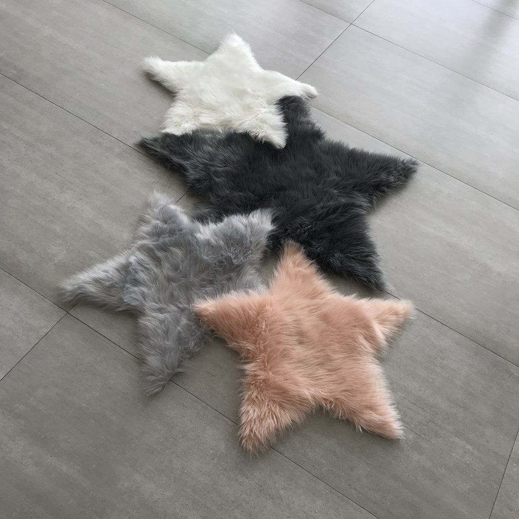 Machine Washable Faux Sheepskin Light Grey Star Area Rug