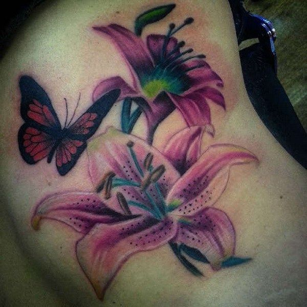 ab75ae918 Tiger Lily With Butterfly Tattoo Designs 35 pretty lily flower tattoo .