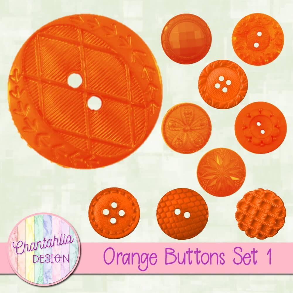 free button embellishments in an orange use them in your digital scrapbooking or other digital [ 1000 x 1000 Pixel ]