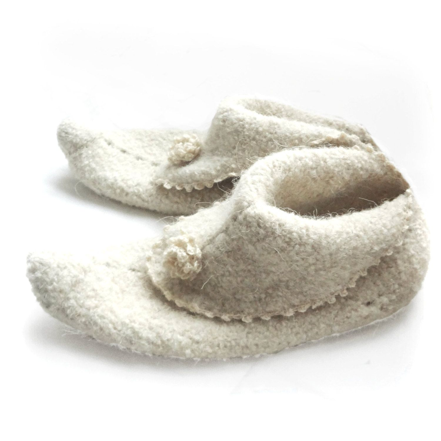 Elf Slippers Felted Crochet Slippers Scandinavian Style Natural Sheep Wool Very Warm White Ecru Knit Women Socks Crochet Slippers Felted Crochet Elf Slippers