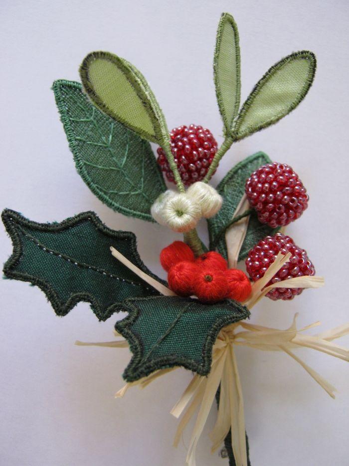 Christmas berries tutor shelley cox stumpwork