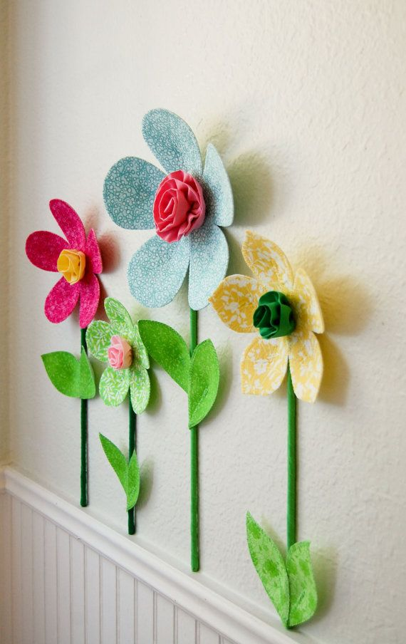 marvelous 3d Flower Wall Decor Part - 15: 3d flower wall decor. girls room wall decal. fabric wall flowers. yellow  fabric flower. baby shower gift. spring garden. wall mural
