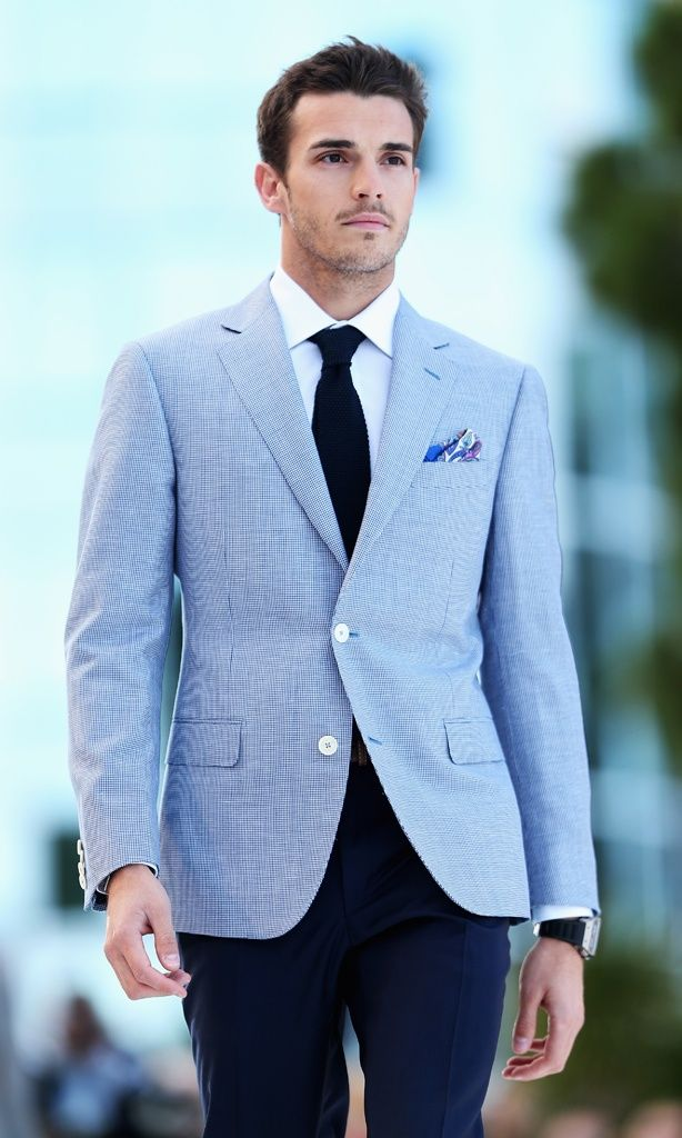 4b6118920 Formal season doesn't have to mean suits - try a blazer or sports jacket.  This pale blue jacket with navy trousers will compliment your girl's bright  or ...