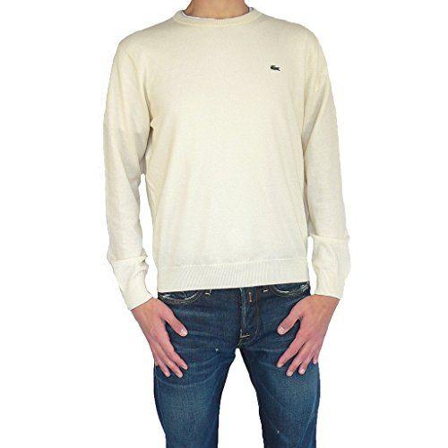 Extrêmement Lacoste pull pour homme à col rond pull en tricot laine blanc  HX97