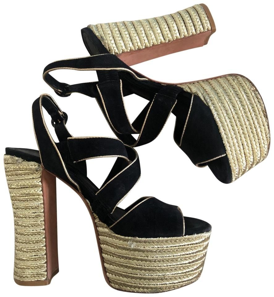 Olivia Gold and Black Espadrille Chunky