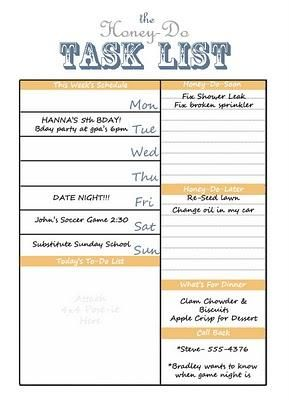 printable honey do task list. I need this on a dry eraser board ...