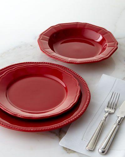 Designer Dinnerware & H80P2 Matceramica 12-Piece Red Bistro Dinnerware Service | Kitchen ...