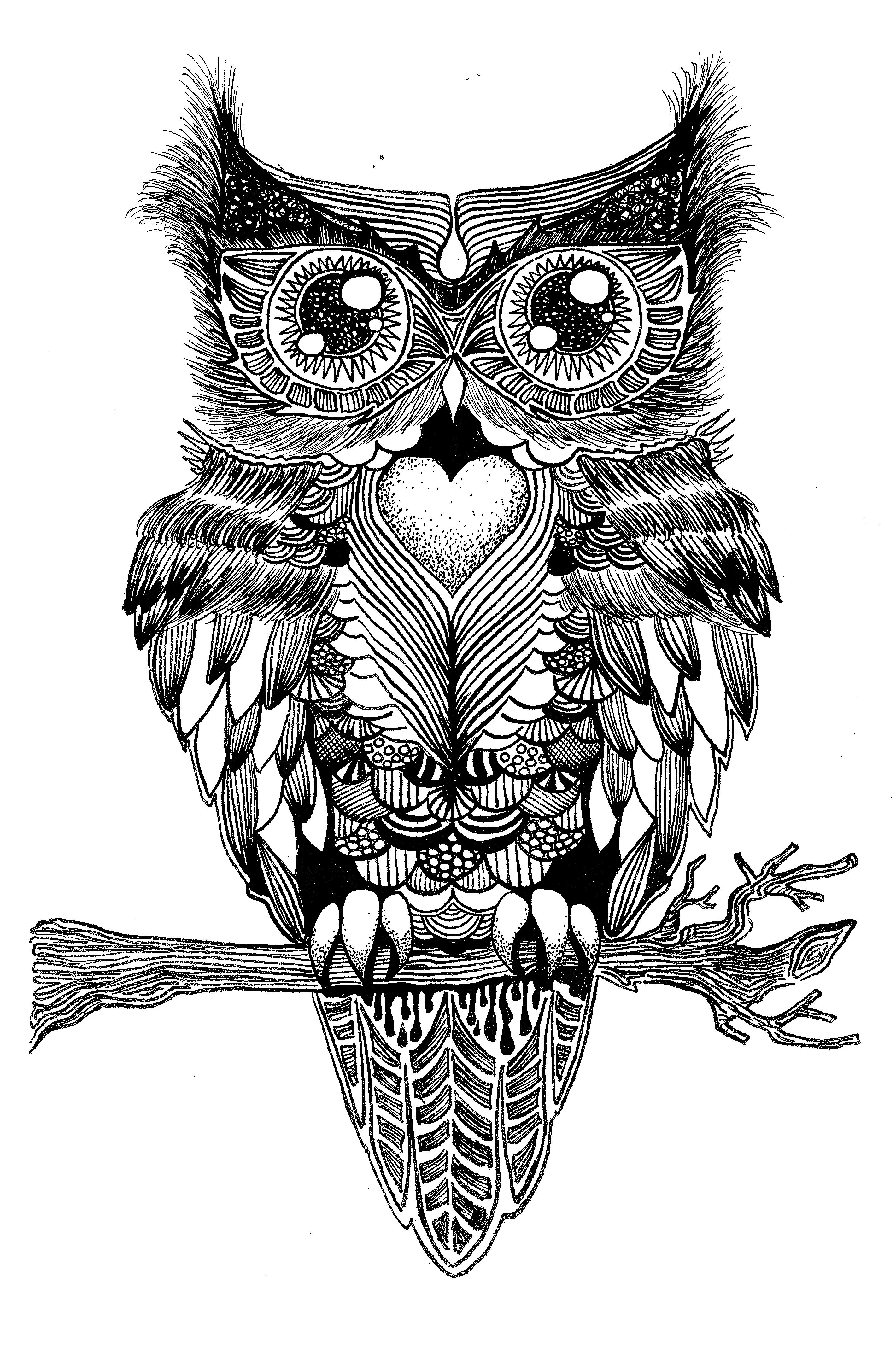 Favoriete Symmetrische Uil: Oost-Indische inkt. - Doodles & Zentangles  ZC77
