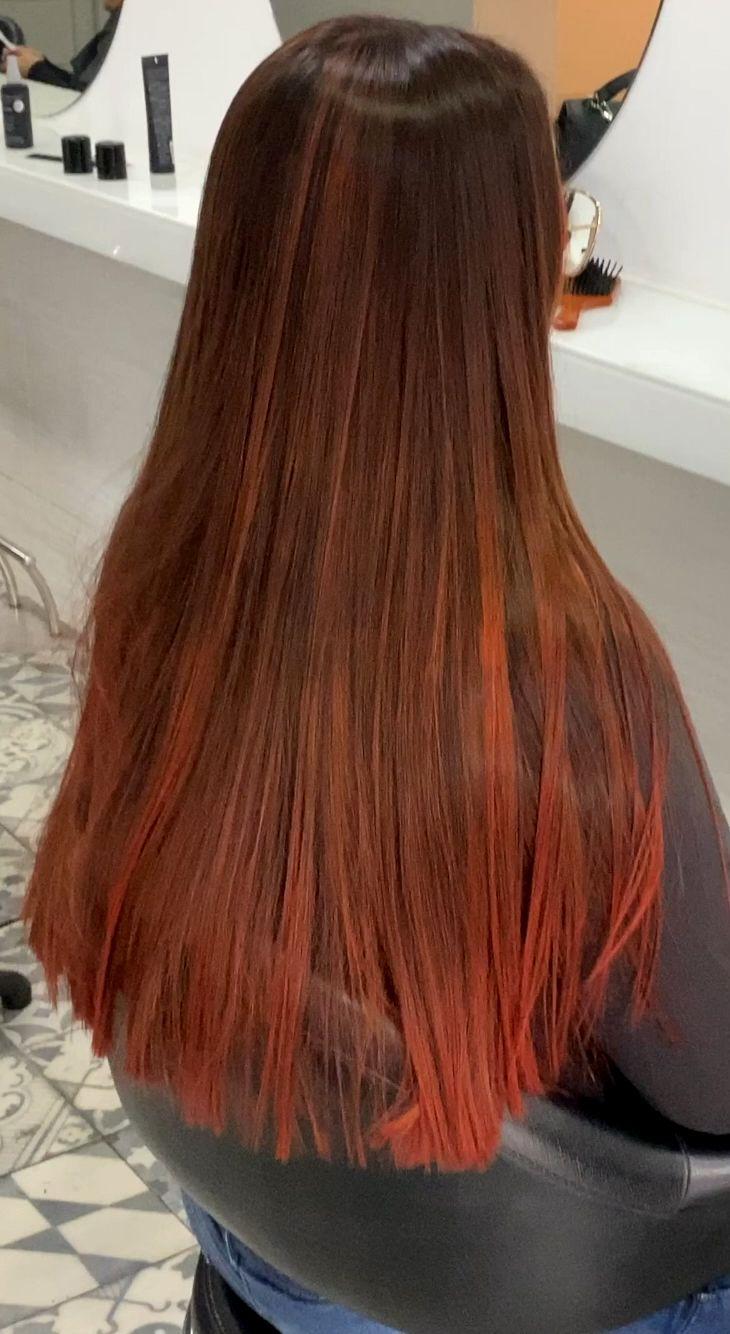 Photo of Mechas balayage cobre rojas