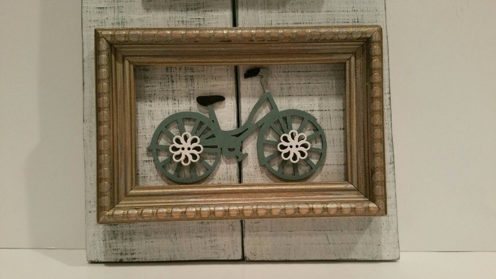 Shabby chic bike bicycle french country wall decor flower teal white