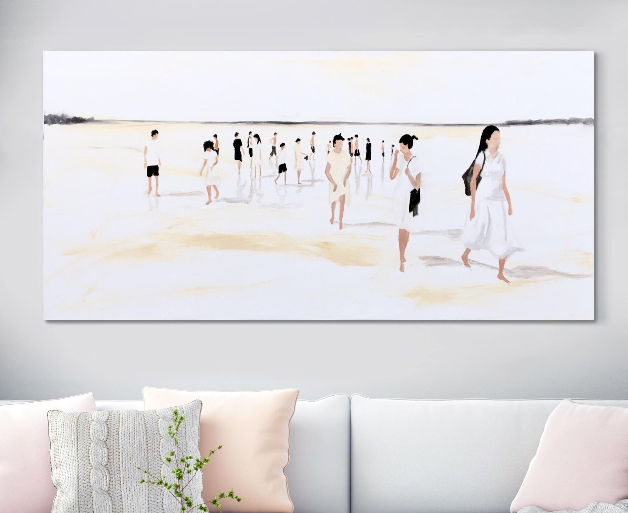 63 Large Original Painting White Beach Scene People