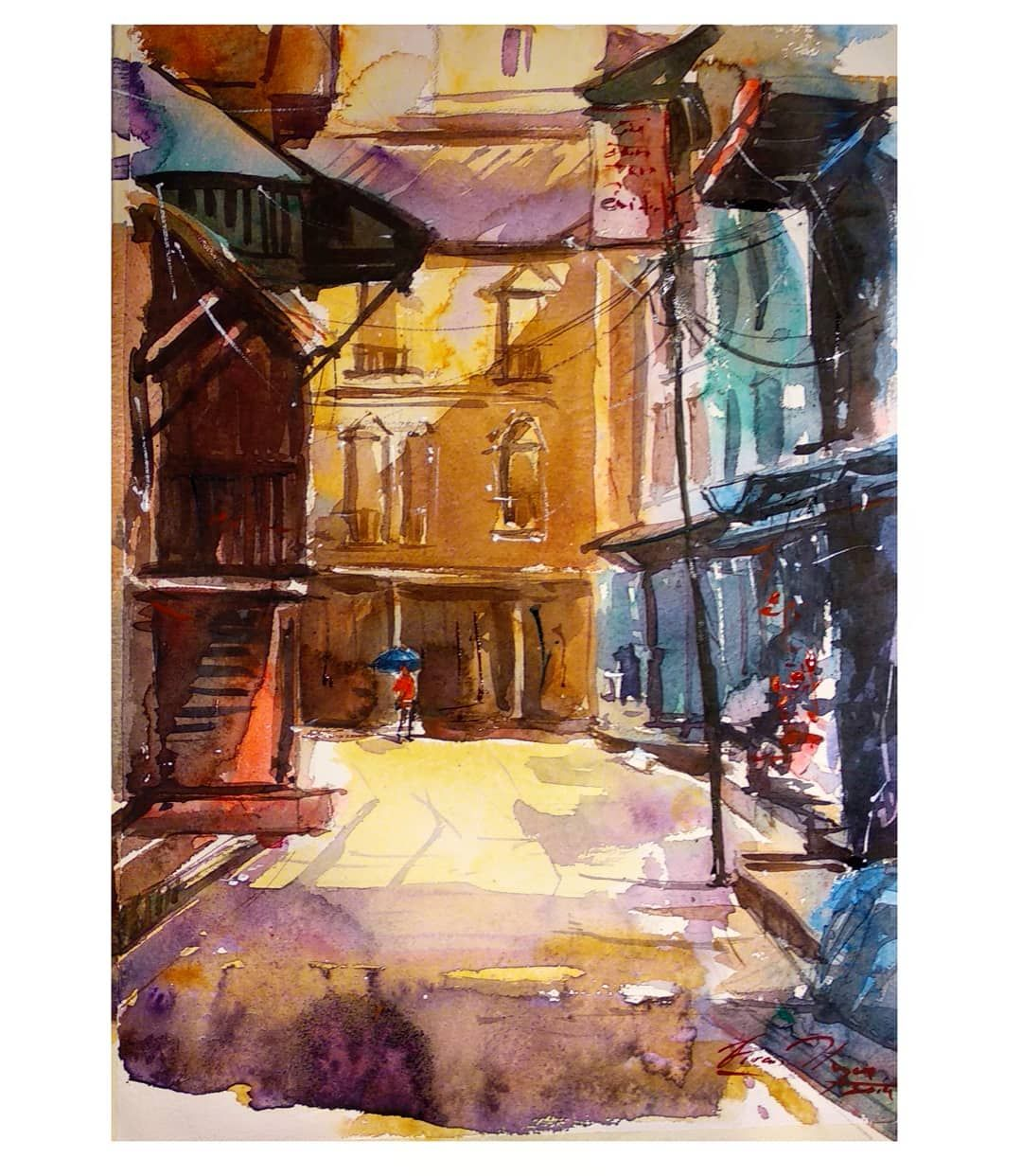 Tansen Palpa Nepal Watercolor On Paper An Alley Back At My Home
