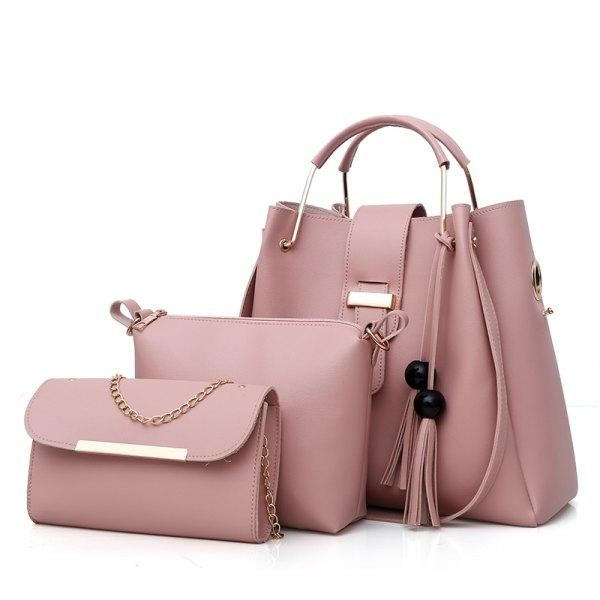 6055341cb7  Rosewholesale -  Rosewholesale Three Piece Solid Color Fashion Litchi  Grain Beads Tassel Lash Bags. Leather TasselLeather Tote ...