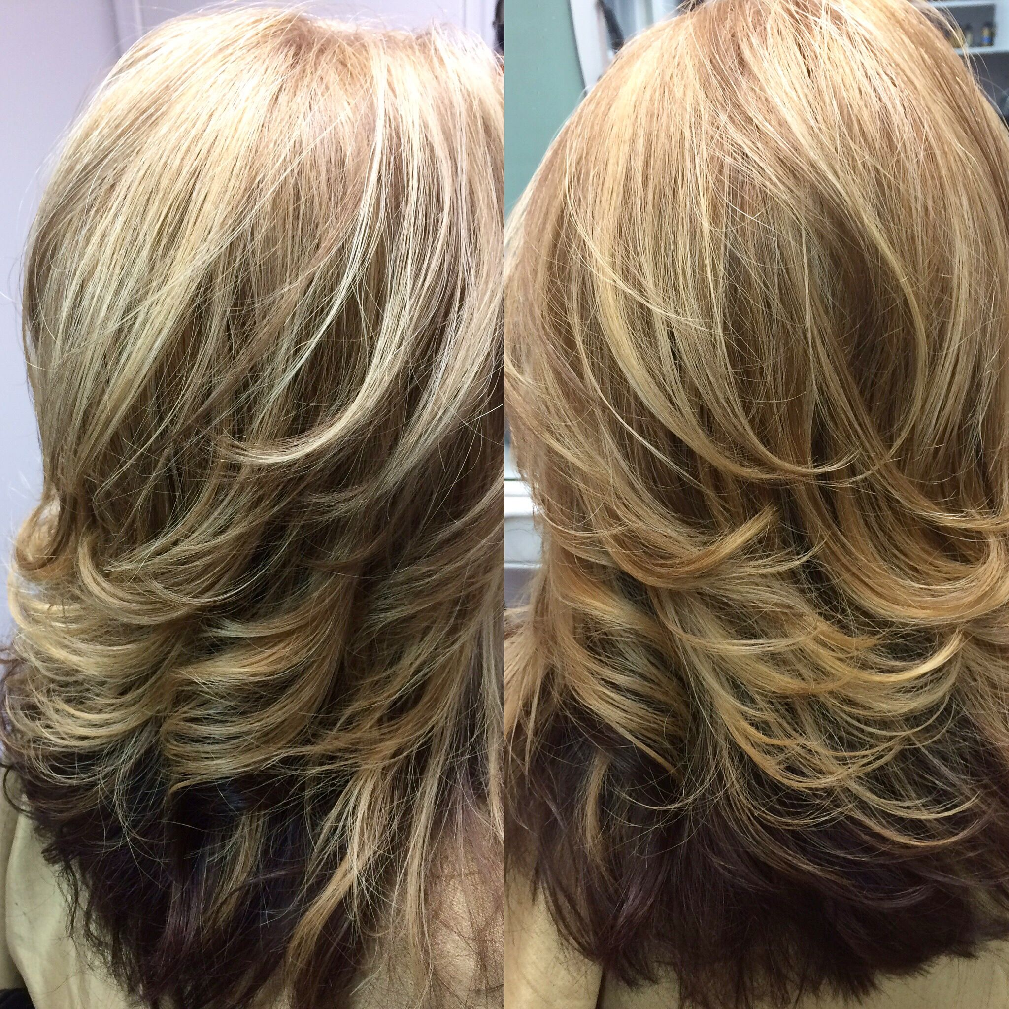 two tone blonde hair with dark golden brown underneath | two