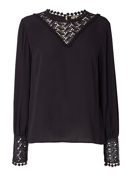 Lace detail victoriana blouse