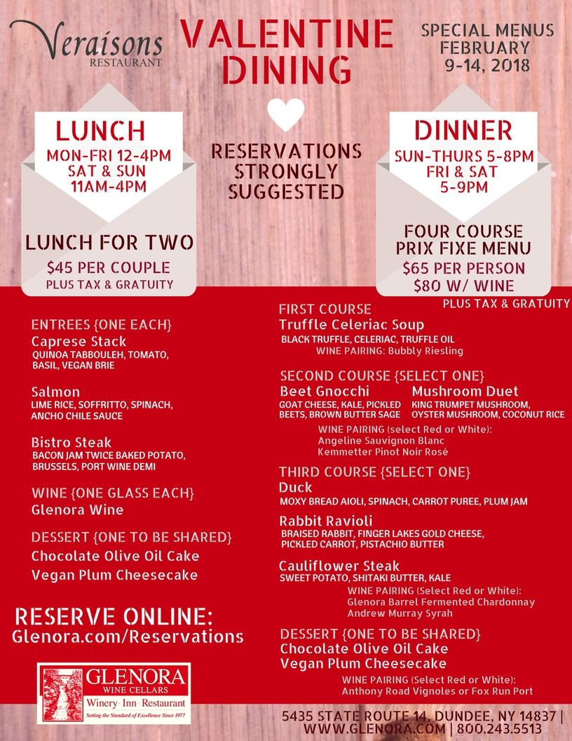 February 9 14 2018 Celebrate The One You Love At Veraisons Restaurant In Addition To Our Regular Menus We Ll Be Offering Wine Pairing Restaurant Dinner Menu