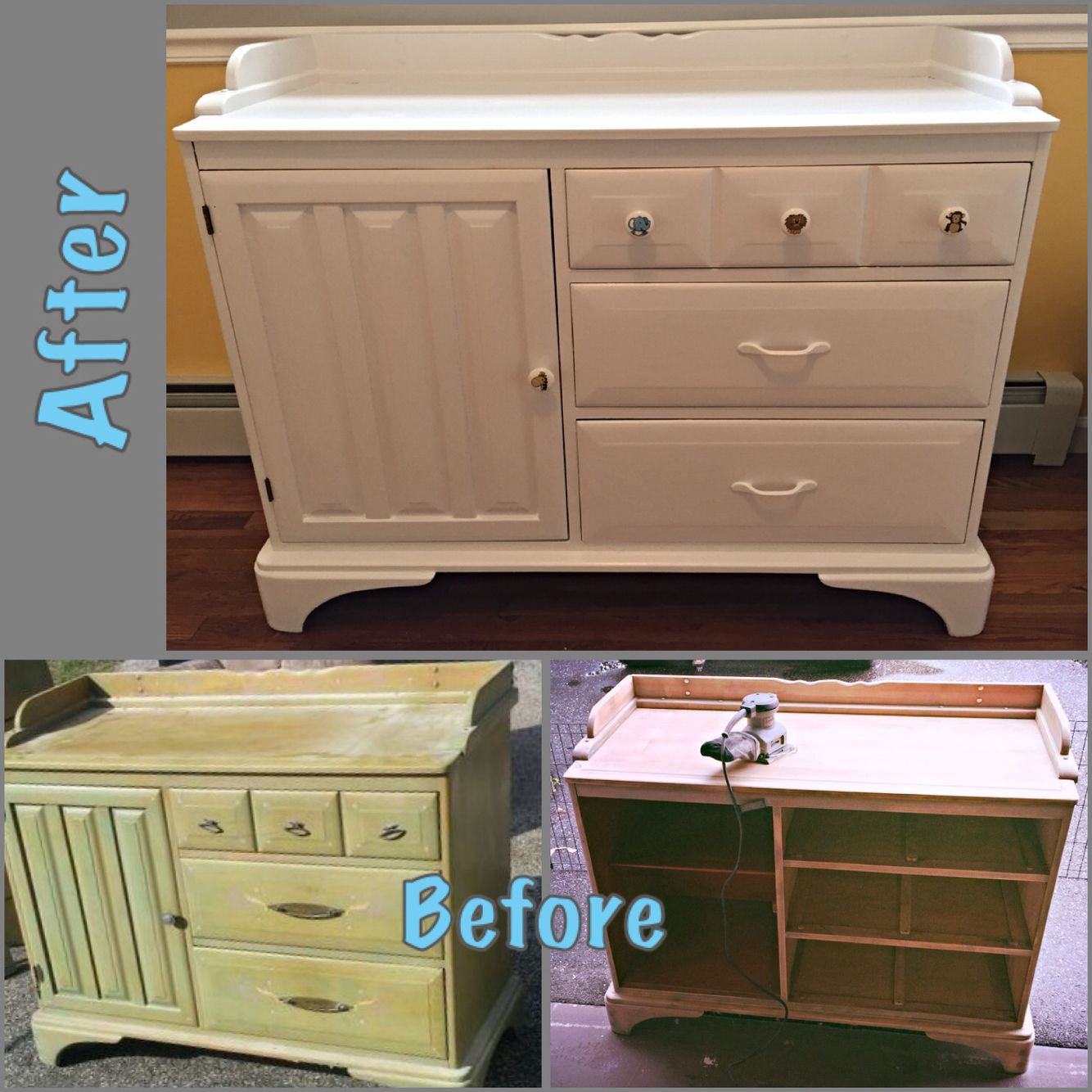 Refinished Old Dresser / Cabinet To Upcycled Baby White Changing Table For  Nursery/ Baby Room DIY