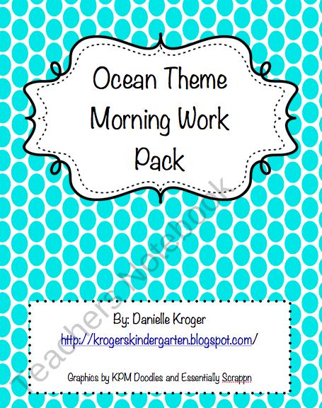 Ocean Morning Word from Krogers Kindergarten on TeachersNotebook.com (11 pages)