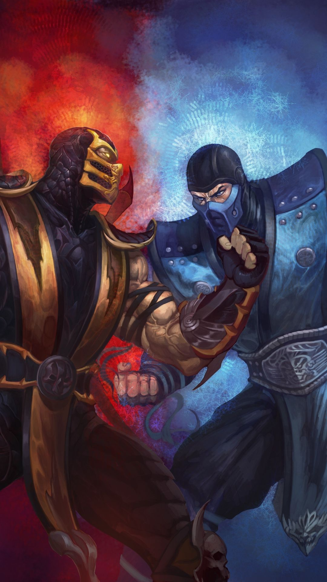 1080x1920 Wallpaper Mortal Kombat Scorpion Sub Zero Punch Ice